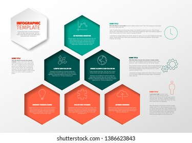 Vector Minimalist red and teal color Infographic report template with hexagons in a big pyraimd