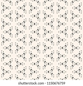 Vector minimalist seamless pattern. Simple minimal black and white geometric texture. Abstract monochrome background with tiny rhombus shapes, floral silhouettes. Subtle design for decor, wallpapers