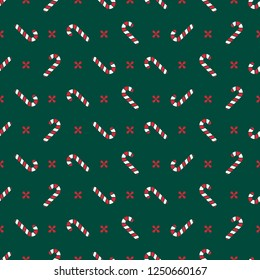 Vector minimalist seamless pattern, simple christmas backround. Winter template for invitations, textile, wallpapers and wrapping paper. Candy cane noel design.