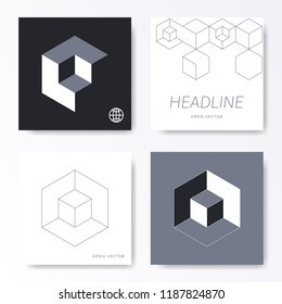 Vector minimalist square card cover templates with cube