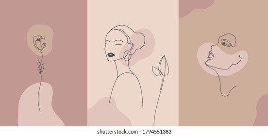 Vector minimalist style portrait. Line flower, woman portrait. Hand drawn abstract feminine print. Use for social net stories, beauty logos, poster illustration, card, t-shirt print