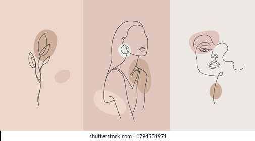 Vector minimalist style portrait. Line flower, woman portrait. Hand drawn abstract feminine print. Use for social net stories, beauty logos, poster illustration, card, t-shirt print