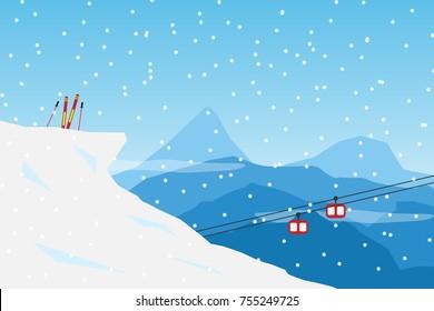 vector  Minimalist style Snow Ski concept. Flat Minimal Landscape Illustration Eps10