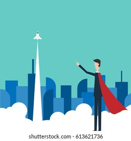 Vector Minimalist style White paper planes flying in sky. Leadership, success, teamwork, management, boss, motivation and business concept.
