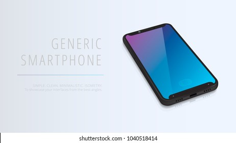 Vector minimalistic 3d isometric illustration cell phone. Smartphone perspective view. Side and top view. Mockup generic device. Template for infographics or presentation UI design interface.