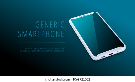 Vector minimalistic 3d isometric illustration cell phone. Smartphone perspective view. Top view. Mockup generic device. Template for infographics or presentation UI design