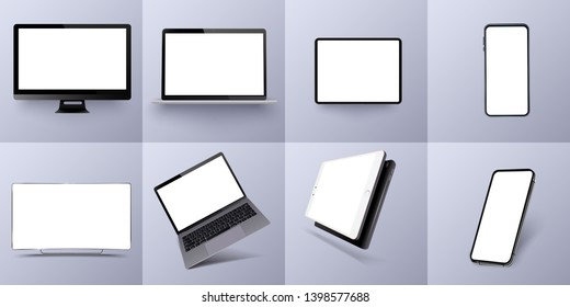 Vector minimalistic 3d isometric illustration set device. Smartphone, laptop, tablet, tv perspective view. Side and top view. Mockup generic device. Template for infographics or presentation. Vector