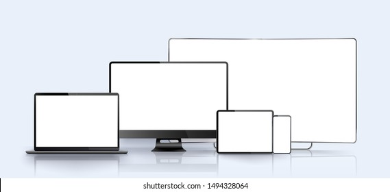 Vector minimalistic 3d isometric illustration set device. Smartphone, laptop, tablet, tv perspective view. Side and top view. Mock up generic device. Template for infographics or presentation