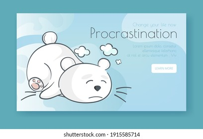 Vector minimalistic banner with a lazy or tired white bear. Flat funny illustration about procrastination. Sad wild animal lies with closed eyes. Sleepy baby polar bear. Landing page. Deep dream.