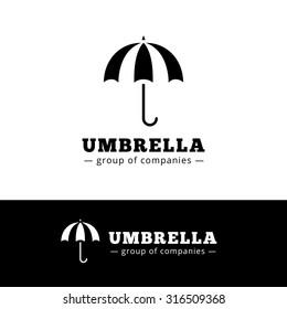 Vector minimalistic black umbrella logo. Simple umbrella logotype