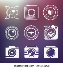 Vector minimalistic collection of photography logo templates. Photography vintage and modern badges and photo labels. Photocam logotypes.