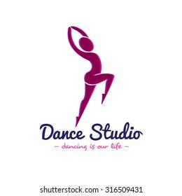 Vector minimalistic dance studio logo. Dancer logotype