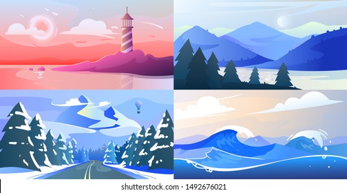 Vector minimalistic gradient landscape with mountains and wood. Flat style. Abstract background of lighthouse on the coast, national park with a lake, stormy sea with waves. Set of landscapes template