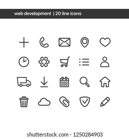 Vector minimalistic icons set. Web development elements for web design. Add, contact, mail, geo, like, clock, settings, shopping card, profile, delivery, calendar, search, home, trashcan, cloud icons