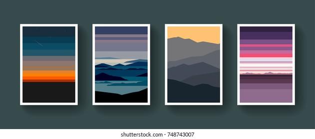 Vector Minimalistic Landscape Posters