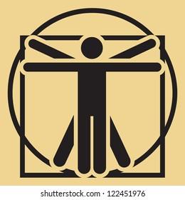 Vector minimalistic Leonardo da Vinci vitruvian man sign