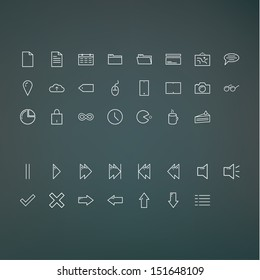 Vector minimalistic outline icon pack. Fresh ui icons for presentation, application or website. Clean minimalistic design.