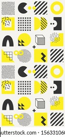 Vector minimalistic seamless pattern with bright bold geometric shapes. Hipster Memphis style. Trendy graphic elements for your unique design.