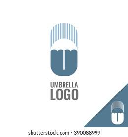 Vector minimalistic umbrella logo.