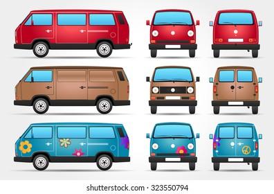 Vector Minivan - Side - Front - Rear view