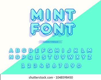 Vector mint font 3d style modern typography. Alphabet for logo, emblem, party poster, t shirt, printing on fabric, promotion, kids book, greeting card, decoration, stamp, label, special offer