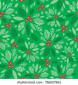 Vector mint green holly berry holiday seamless pattern background. Great for winter themed packaging, giftwrap, gifts projects.