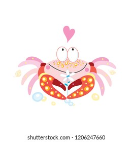 Vector miracle enamored funny crab with a heart on a white background