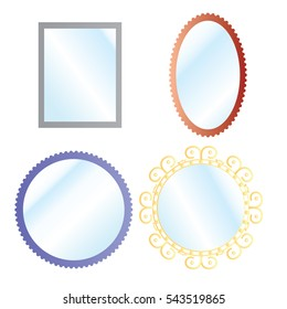 Vector mirrors set with blurry reflection. Mirror frames or mirror decor interior vector illustration