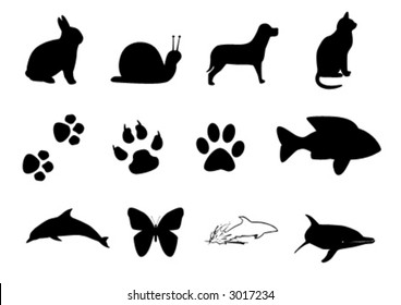 vector miscellaneous animal silhouettes