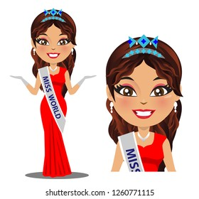 A vector of miss world beauty pageant. She is wearing a gown and also the miss world crown