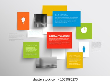 Vector Mission, vision and values diagram schema template with sample texts and photos - light colorful version