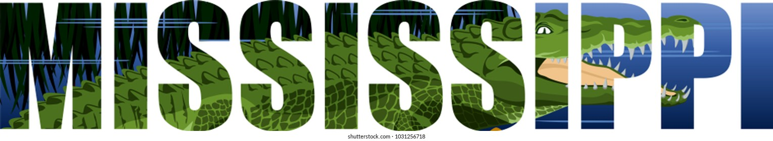 vector Mississippi - American state word with crocodile alligator and wetland river
