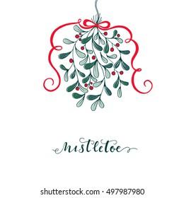 Vector mistletoe.Vector template.