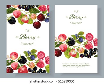 Vector mix berry banners. Design for tea, natural cosmetics, beauty store, dessert menu, organic health care products, perfume, aromatherapy. With place for text