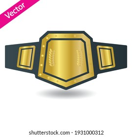 Vector mixed martial arts title champion belt isolated on white background. Trophy award for boxing, kickboxing or wrestling championship competition and tournament. Professional sport prize reward