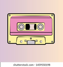 vector mixtape audio cassette design in yellow and pink tones- retro vintage music of eighties and nineties- 80's 90's