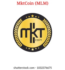 Vector MktCoin (MLM) digital cryptocurrency logo. MktCoin (MLM) icon. Vector illustration isolated on white background.