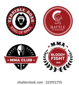 Vector MMA Labels - Mixed Martial Arts Design Isolated on White Background.