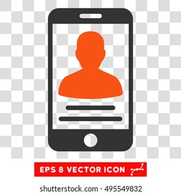 Vector Mobile Account EPS vector icon. Illustration style is flat iconic bicolor orange and gray symbol on a transparent background.