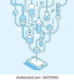 Vector mobile app development concept in trendy linear style - illustration for website or banner - application laboratory and work in progress - infographic design elements