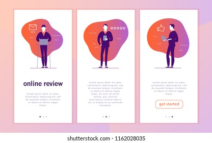 Vector mobile app interface concept design with online review theme. Office people with gadget - laptop, tablet - give a star rating. Thumb up, stars line icons. Landing page, UI site template design.
