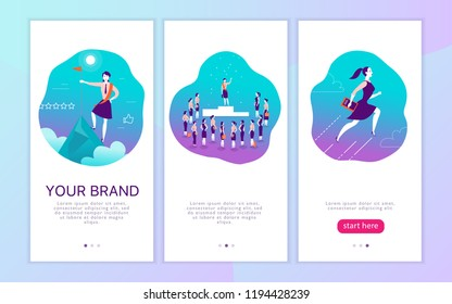 Vector mobile app interface concept design with woman personal brand theme. Victory metaphor for successful business lady. Landing page, UI site template design. Web banner, mobile app illustration.
