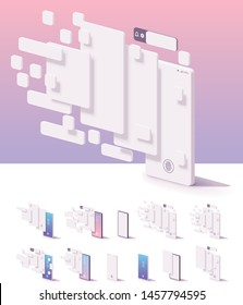 Vector mobile app user interface template. Smartphone with blank white wireframing screens, buttons, pages mockups to show application features and design
