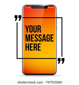 vector Mobile apple iphone x Phone with Innovative quotation template in quotes against the orange backdrop. Cell mobile short message. Smartphone apple iphone 8 blank colloquial cloud banner Cellular