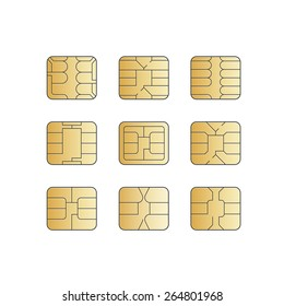 Vector Mobile Cellular Phone Sim Card Chip Set Isolated on White Background
