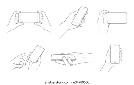 Vector mobile device outline and contour in hand set with fingers