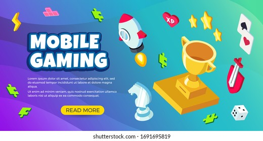 Vector mobile gaming banner design with elements of award, rocket, sword, cards, puzzle