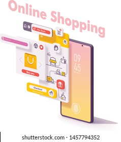 Vector mobile online shopping app concept. Smartphone online shop app page, checkout and payment, delivery, search and support