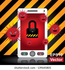 Vector : Mobile Phone Antivirus Concept Present By White Smart Phone With Red Virus and The Key Lock on Screen in Caution Zone Dark and Yellow Background
