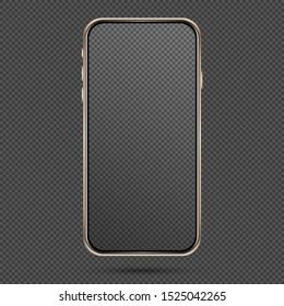Vector mobile phone frame. Smart phone template. Golden phone mockup on the dark background.